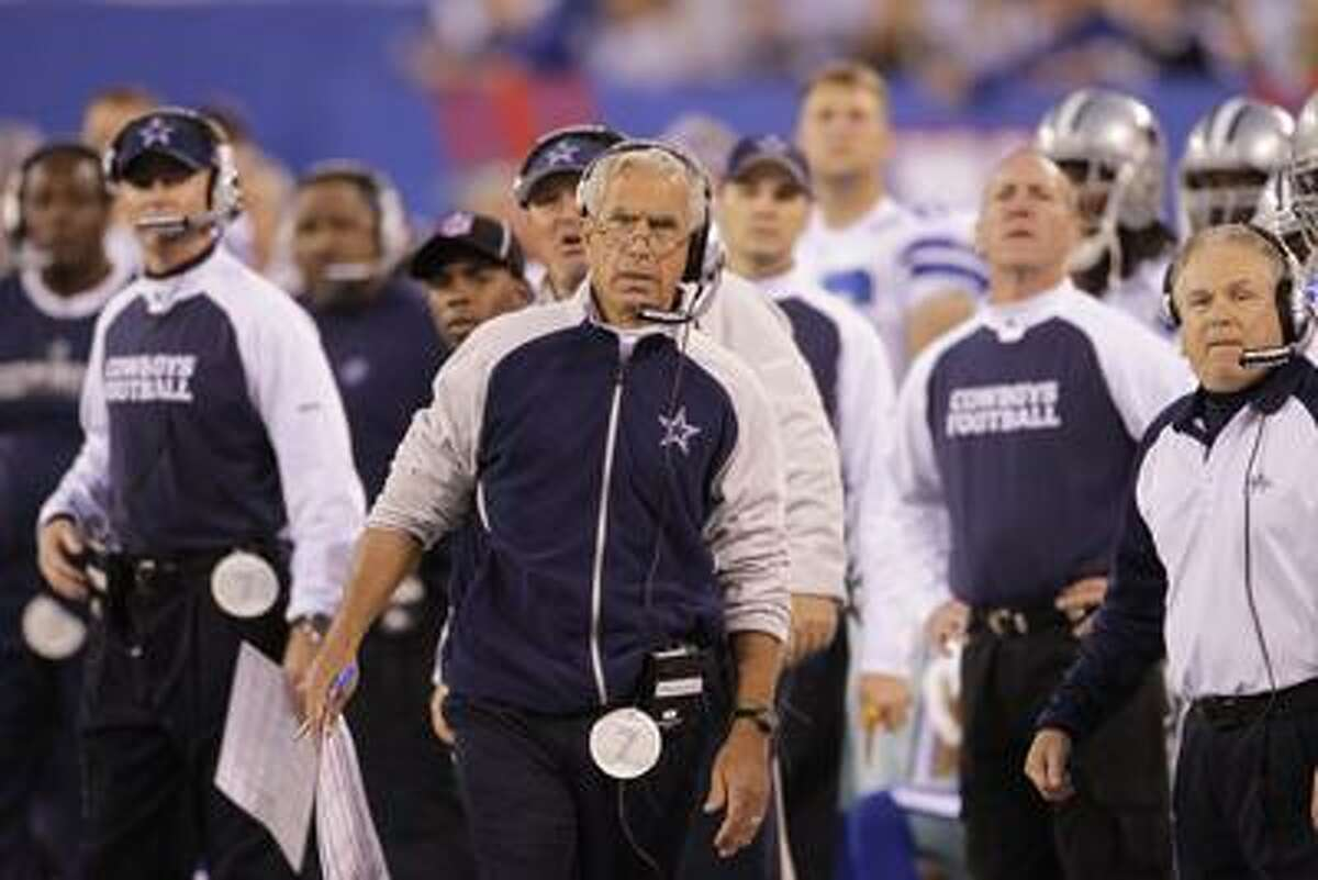 Dallas Cowboys defensive coordinator, Paul Pasqualoni, during the second quarter of an NFL football game between the New York Giants and the Dallas Cowboys at New Meadowlands Stadium Sunday, Nov. 14, 2010, in East Rutherford, N.J. (AP Photo/Seth Wenig)