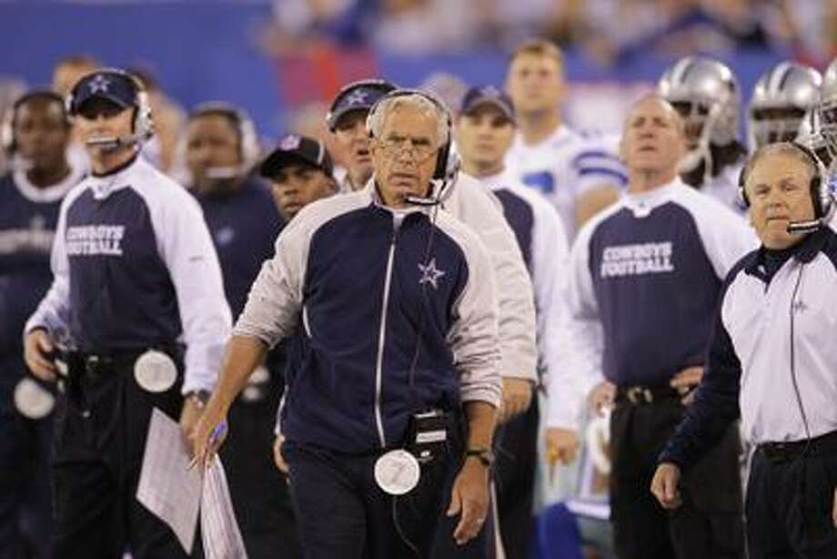 Dallas Cowboys defensive coordinator, Paul Pasqualoni, during the second quarter of an NFL football game between the New York Giants and the Dallas Cowboys at New Meadowlands Stadium Sunday, Nov. 14, 2010, in East Rutherford, N.J.  (AP Photo/Seth Wenig) Photo: AP / AP