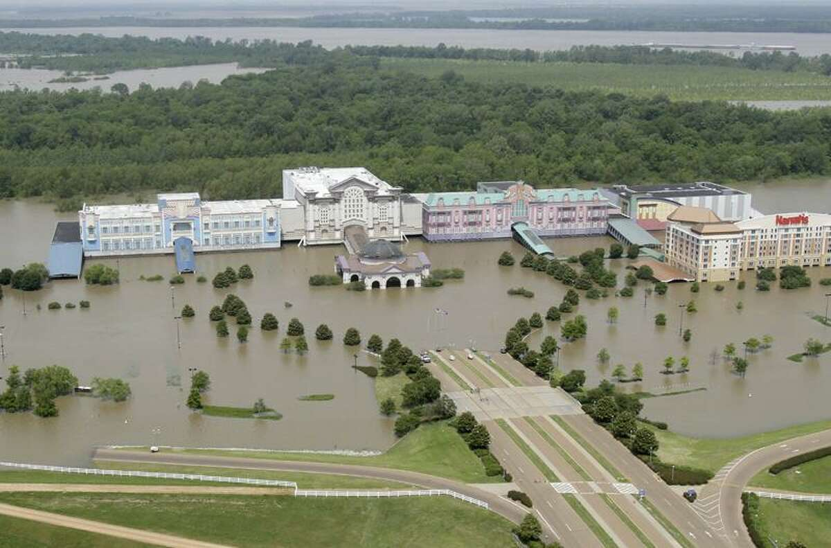 Floodwaters from the Mississippi River inundate casinos in Tunica, Miss., Monday. Because of heavy rain over the past few weeks and snowmelt along the upper reaches of the Mississippi, the river has broken high-water records upstream and inundated low-lying towns and farmland. (Associated Press)