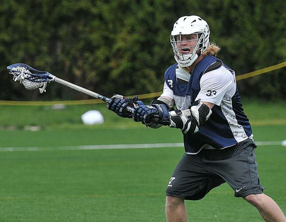 NewHaven--Yale Lacrosse player, Matt Gibson during practice Thursday.   Peter Casolino/New Haven Register 05/10/12