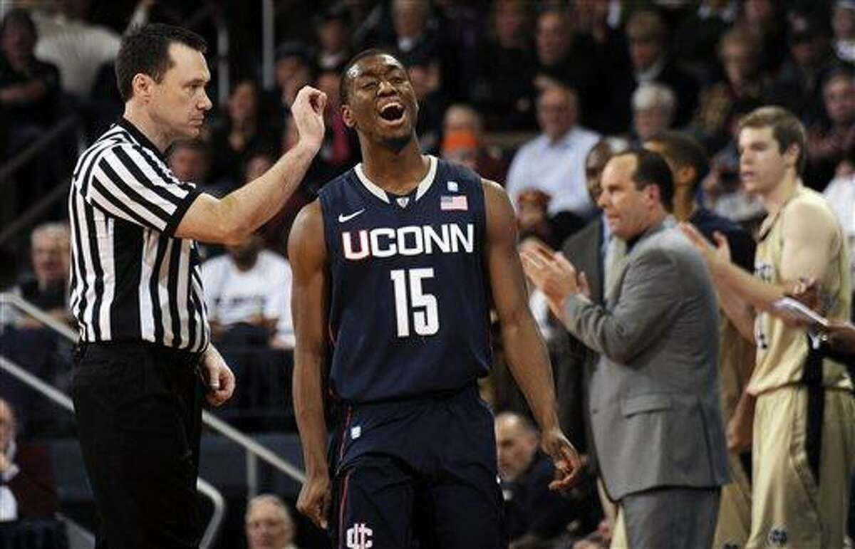 Connecticut guard Kemba Walker reacts to a foul called on him during the second half of Connecticut's 73-70 loss to Notre Dame in an NCAA college basketball game Tuesday, Jan. 4, 2011, in South Bend, Ind. (AP Photo/Joe Raymond)