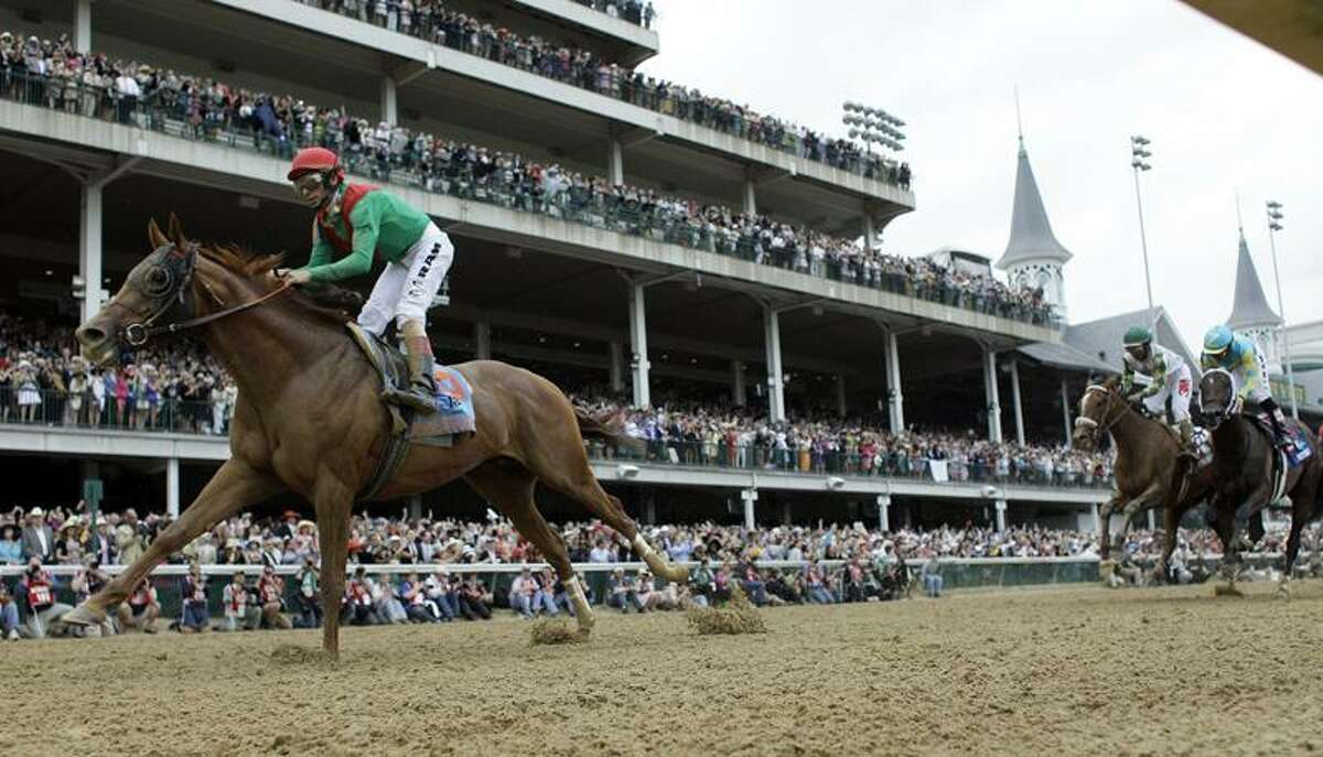 John Velazquez rides Animal Kingdom to victory during the 137th Kentucky Derby horse race at Churchill Downs Saturday, May 7, 2011, in Louisville, Ky. (AP Photo/David J. Phillip)