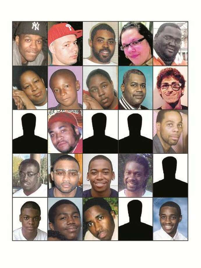 With the exception of an unidentified shooting victim Saturday, homicide victims in 2011 include, from left, row one: Jerome William Brown, Michael Fernandez, Marquis Sumler, Jocelyn Rodriguez and Michael Lee Johnson. Row two: Wanda Roberson, Quayshaun Roberson, JaQueeta Roberson, Derrick Suggs and Mitchell Dubey. Row three: Vashun Lewis, Kevin Lee Sr., Isaiah Gant, Albert Jenkins and Ryan Oneil Barnaby. Row four: Robert Lee McArthur, Donell David Allick, Travis Washington, John-Claude James Sr. and Daryl McIver. Row five: Sean Reeves Jr., Anthony Marquis Holmes, Lee Anthony Mitchell, Cassandra Mead and Timothy Mathis. Vern Williams/Register photo illustration