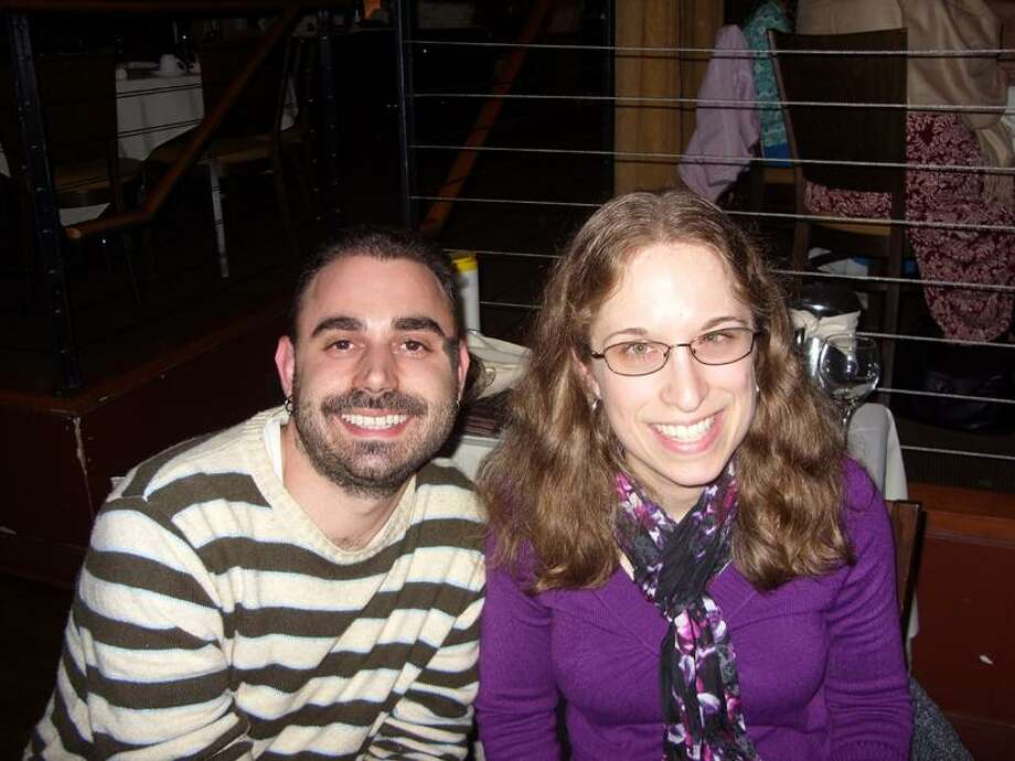 Contributed photo: Christopher Chialastri of New Haven and Kim Kliger of Milford met for dinner at Leon's on Long Wharf in New Haven. / Copyright 2008