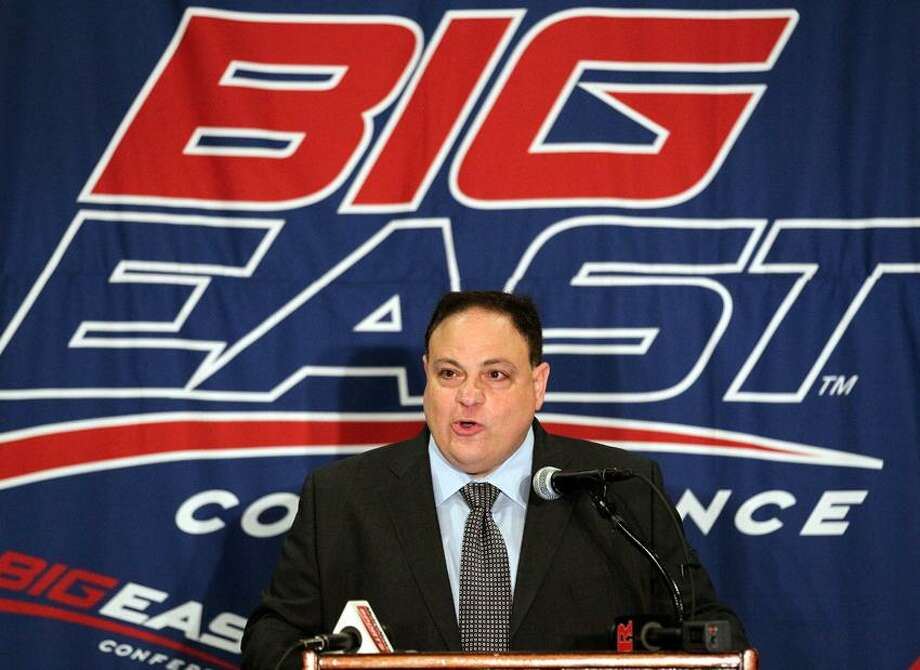FILE - In this Aug. 2, 2011, file photo, Big East Commissioner John Marinatto speaks to reporters during Big East football media day in Newport, R.I. Marinatto resigned Monday, May 7, 2012, after less than three years on the job and a wave of departures by high-profile schools. (AP Photo/Stew Milne, File) Photo: AP / AP2011