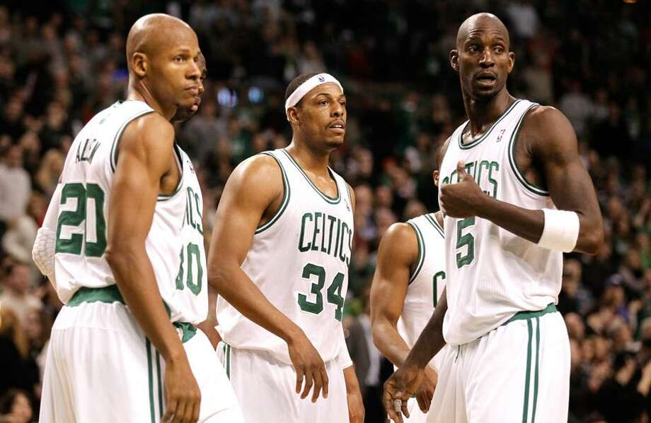 Associated Press file photo From left, Ray Allen, Paul Pierce and Kevin Garnett Photo: AP / AP2012