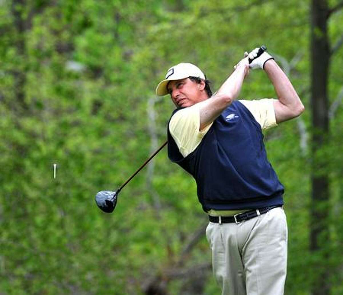 Hamden-- New Haven Country Club, Challenge Cup. Tom McCarthy of Twin Hills CC tees off on the 5th hole. Photo by Peter Casolino/New Haven Register05/05/11 Cas110505