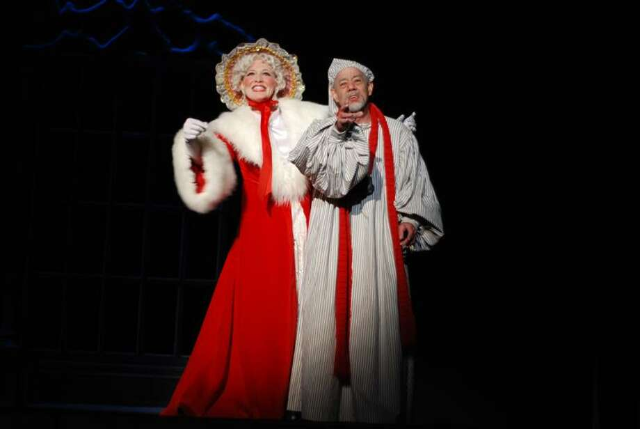 """Scrooge and the Ghost of Christmas Past have a meeting of the minds in """"A Christmas Carol,"""" opening Dec. 2 at the Shubert Theater."""