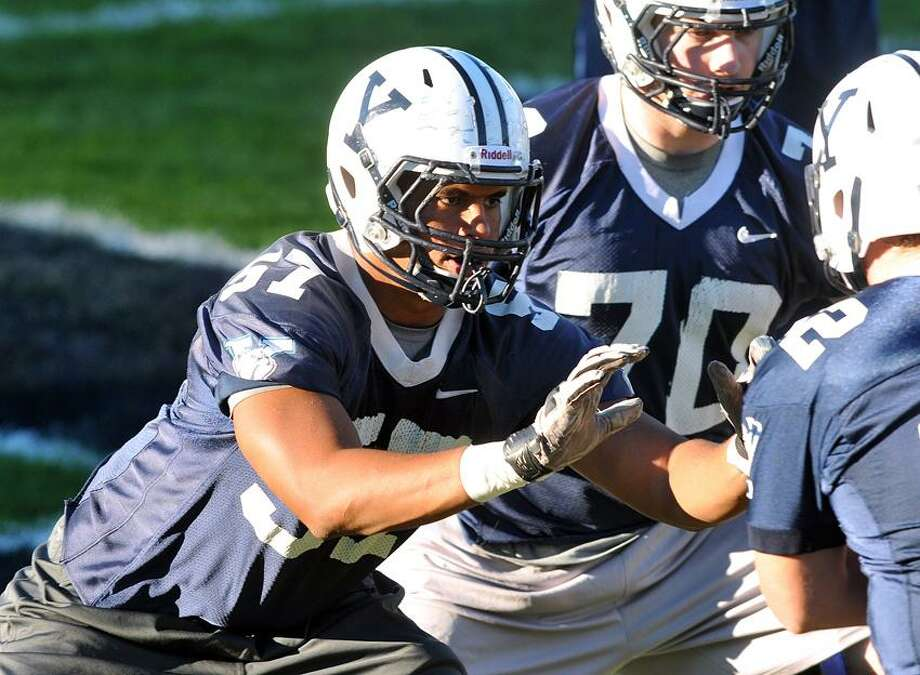 New Haven-- Yale's Roy Collins at practice Thursday. Photo by Peter Casolino/New Haven Register