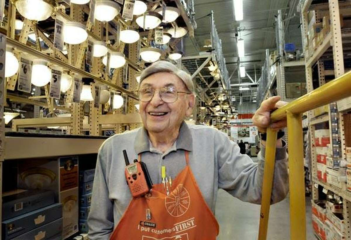 Edwin Abrams, is 90 years old. He is employed at the Home Depot on Dixwell Ave. as a lighting consultant. (Melanie Stengel/Register)