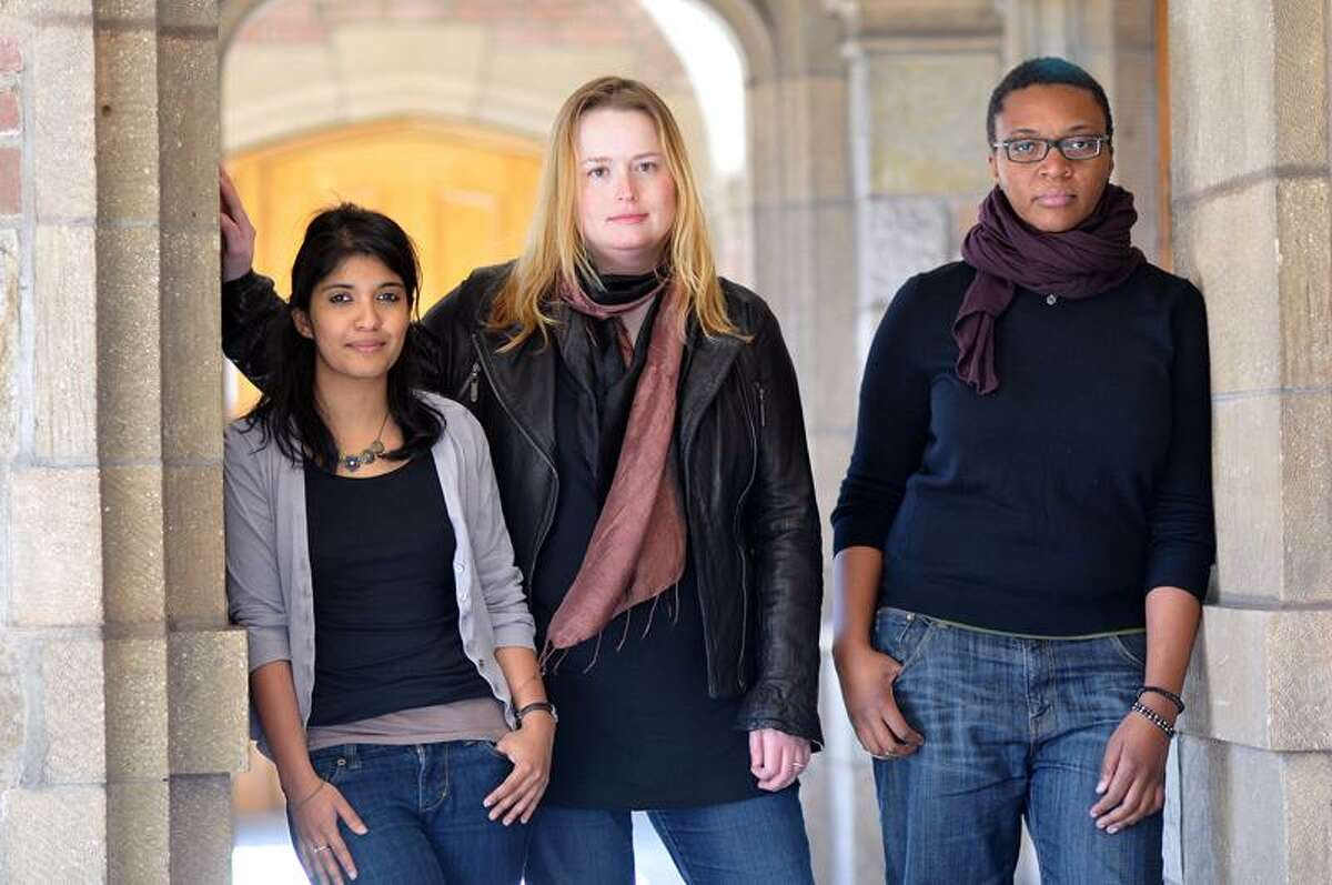 New Haven-- Yale School of Drama playwrights that will be featured in this years Carlotta Festival of New Plays, from left to right; Dipkika Guha, Meg Miroshnik and Christina Anderson. Photo by Peter Casolino/New Haven Register04/21/11 Cas110421