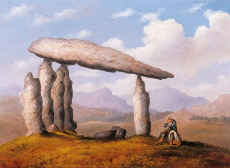"""Photos by permission of the Society of Antiquaries Richard Tongue painted this oil """"Chamber Tomb of Pentre Ifan near Newport, Pembrokeshire"""" to encourage public respect for ancient monuments."""