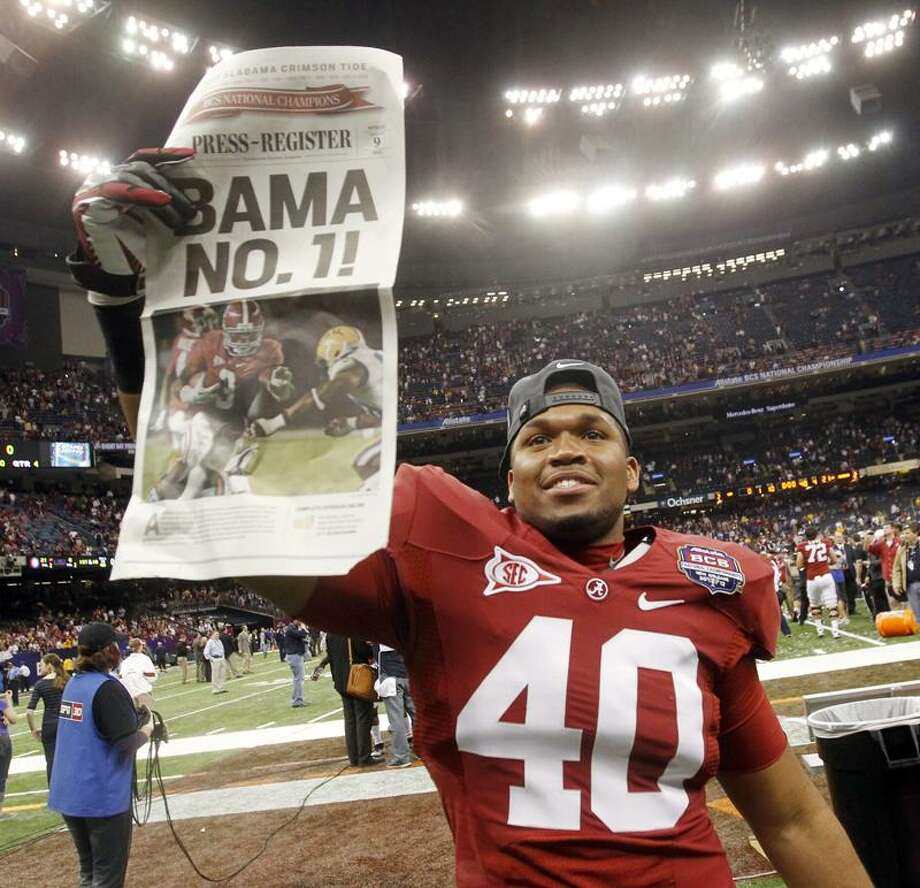 Alabama's DeMarcus DuBose celebrates after the BCS National Championship college football game against LSU Monday, Jan. 9, 2012, in New Orleans. Alabama won 21-0. (AP Photo/Dave Martin) Photo: AP / AP2012