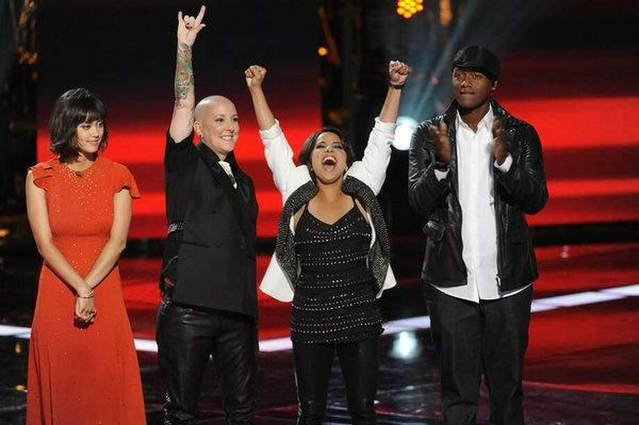 From left, Dia Frampton, Beverly McClellan, Vicci Martinez and Javier Colon.