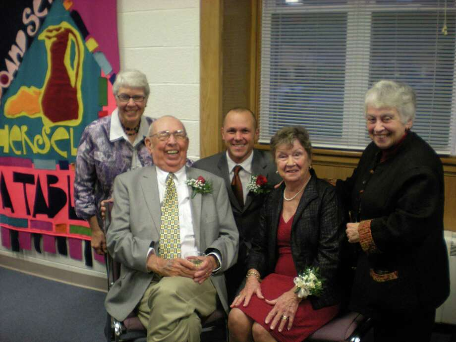 Photo by Daniela Forte Wisdom House's Joanne Ianotti, Wisdom Award recipients Robert FitzGerald, Brian Mattiello and Jeanne Fitzgerald and Sister Rosemarie Greco gathered for a photo at the Wisdom Awards on Wednesday night, Oct. 3.