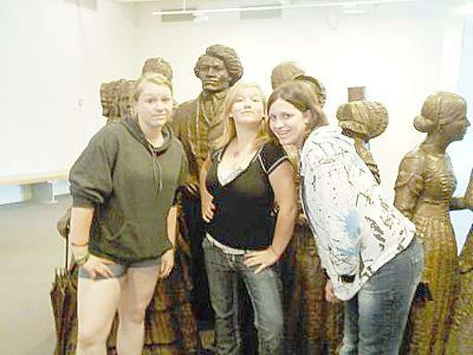 SUBMITTED PHOTO From left: Ashley Owen, Sayde Owens, and Cassandra Rogers at the Woman's Rights National Park, Seneca.