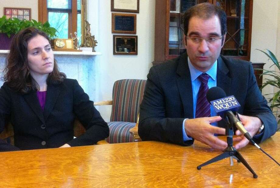 Sonia Steinway and Ray Brescia speak at press conference. Jim Shelton/Register