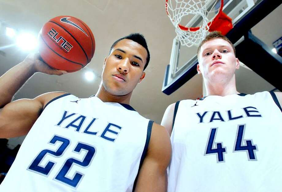Yale basketball players Reggie Willhite (left) and Greg Mangano (right) are photographed at the Lee Amphitheater in Yale University's Payne Whitney Gymnasium on 11/10/2011.Photo by Arnold Gold/New Haven Register    AG0430A