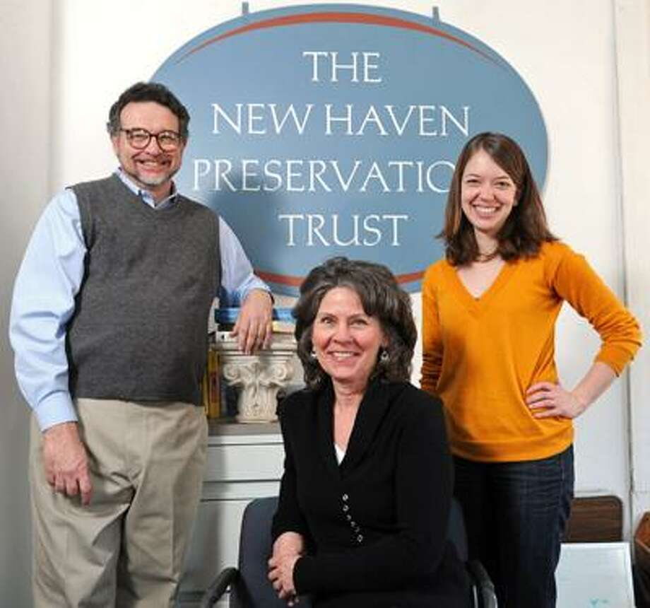 Brad Horrigan/Register photo: The New Haven Preservation Trust includes John Herzan, preservation services officer; Jean Pogwizd, operations manager, center; and Tricia Baum, research assistant.