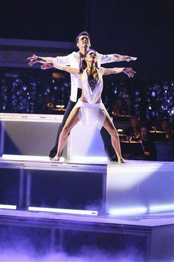 """This Monday, Nov. 26, 2012 publicity photo provided by ABC, shows Tony Dovolani and Melissa Rycroft in """"Dancing with the Stars: All-Stars"""" - Episode 1510, as a competing couple in a Super-Sized Freestyle one-hour performance in which they were allowed to add extra performers, to incorporate all kinds of lifts and tricks to create an out-of-this-world entertaining routine on the ABC Television Network. Rycroft is a finalist for the """"Dancing with the Stars"""" Mirror Ball Trophy on the ABC TV show Tuesday, Nov. 27, 2012. (AP Photo/ABC, Adam Taylor) Photo: AP / American Broadcasting Companies,"""