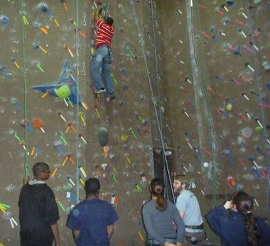 Martin Torresquintero/NHPR&T photo: Indoor wall climbing is just one of the activities the city offers during its School's Out Days of Adventure.