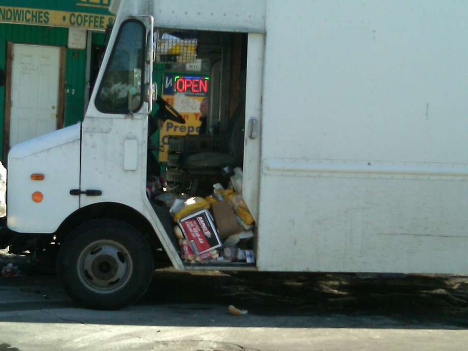 The bread truck a 66-year-old man was driving when he was attacked in New Haven Feb. 14. Photo by William Kaempffer/Register.