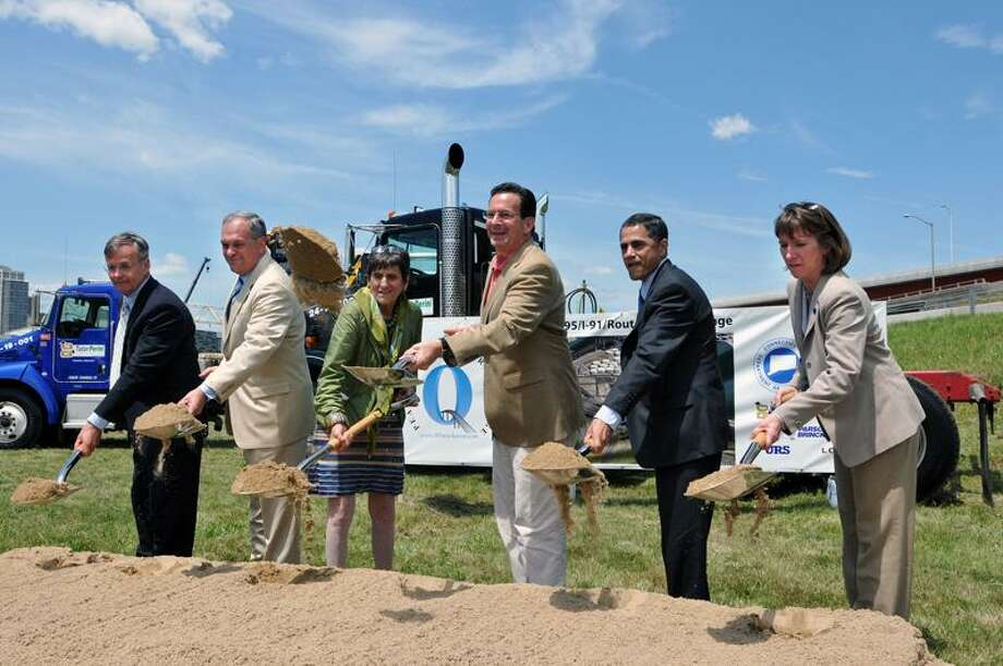 New Haven-- Groundbreaking ceremony for the new I-95 interchange project. They are, left to right; Acting CT DOT Commissioner James Redeker, Mayor John DeStefano Jr., Congresswomen Rosa DeLauro, Governor Dannel Malloy, Federal Highway Administrator Victor Mendez and Amy Jackson.    Photo-Peter Casolino/New Haven RegisterCas110620   6/10/20