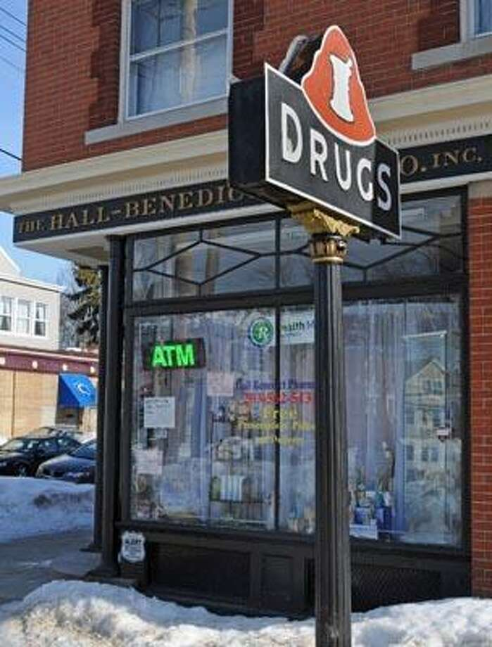 New Haven--The Hall-Benedict Pharmacy may be closing due to a landlord-tenant dispute.  Photo by Brad Horrigan/New Haven Register-02.09.11.