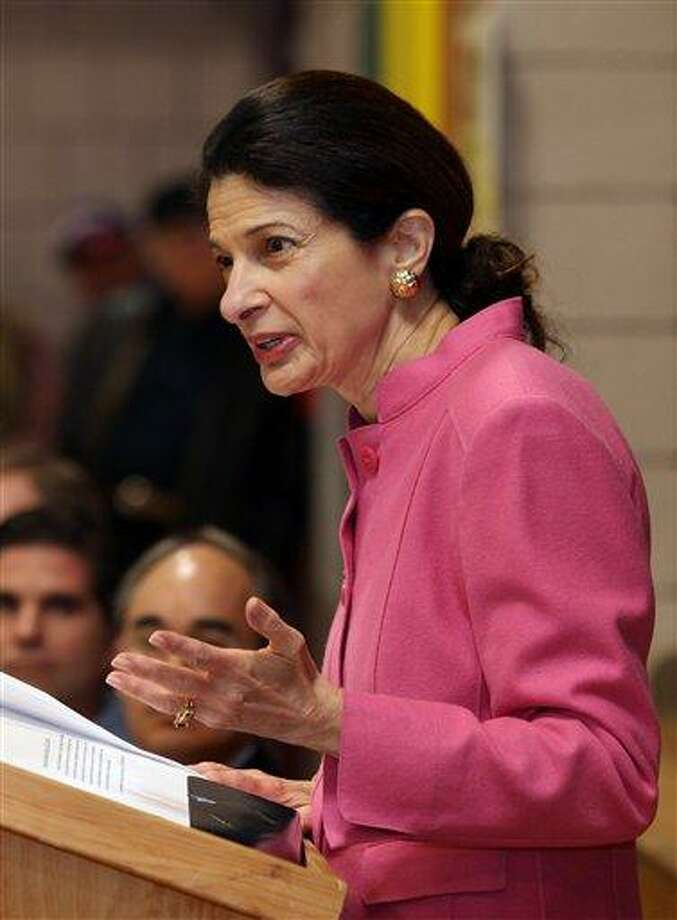 """FILE - In this Saturday, Feb. 4, 2012 file photo, Sen. Olympia Snowe, R-Maine, speaks during the Kennebec County Super Caucus in Augusta, Maine. The three-term Republican announced Tuesday, Feb. 28, 2012 that she will not run for re-election, issuing a statement that cited frustration over the current """"atmosphere of polarization and 'my way or the highway' ideologies."""" (AP Photo/Joel Page) Photo: AP / Copyright 2012 The Associated Press. All rights reserved. This material may not be published, broadcast, rewritten or redistributed."""