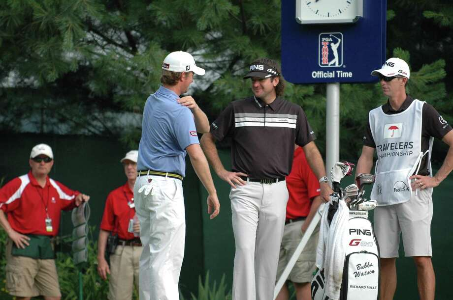 Webb Simpson, left, Bubba Watson and Keegan Bradley (not pictured) are three of the four reigning major champions, and all will make the cut and play the weekend at the Travelers Championship at TPC River Highlands in Cromwell. (Gregory Vasil/Special to the New Haven Register)