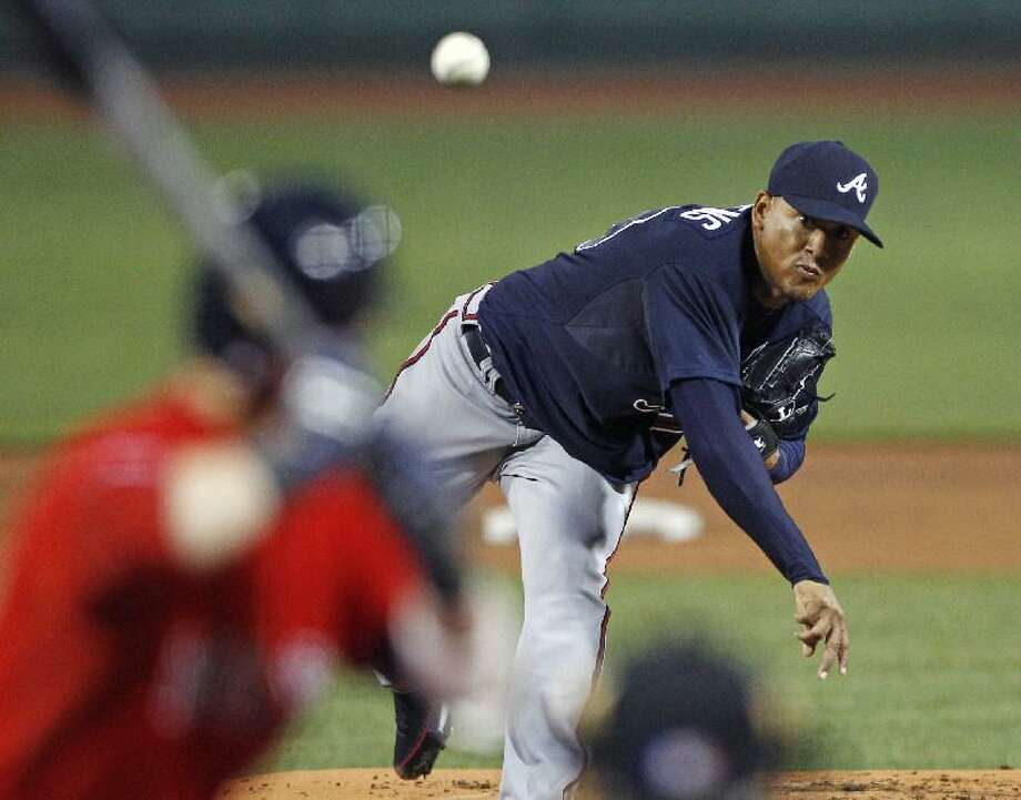 ASSOCIATED PRESS Atlanta Braves starting pitcher Jair Jurrjens delivers to the Boston Red Sox during the first inning of Friday night's game at Fenway Park in Boston. The Red Sox lost 6-4.
