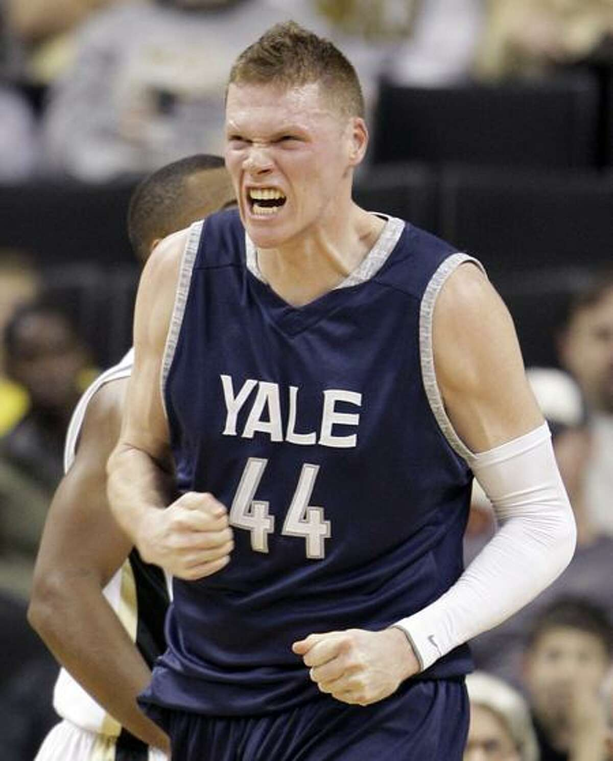 Yale's Greg Mangano reacts after making a basket and being fouled during the first half of an NCAA college basketball game against Wake Forest in Winston-Salem, N.C., Thursday, Dec. 29, 2011. (AP Photo/Chuck Burton)
