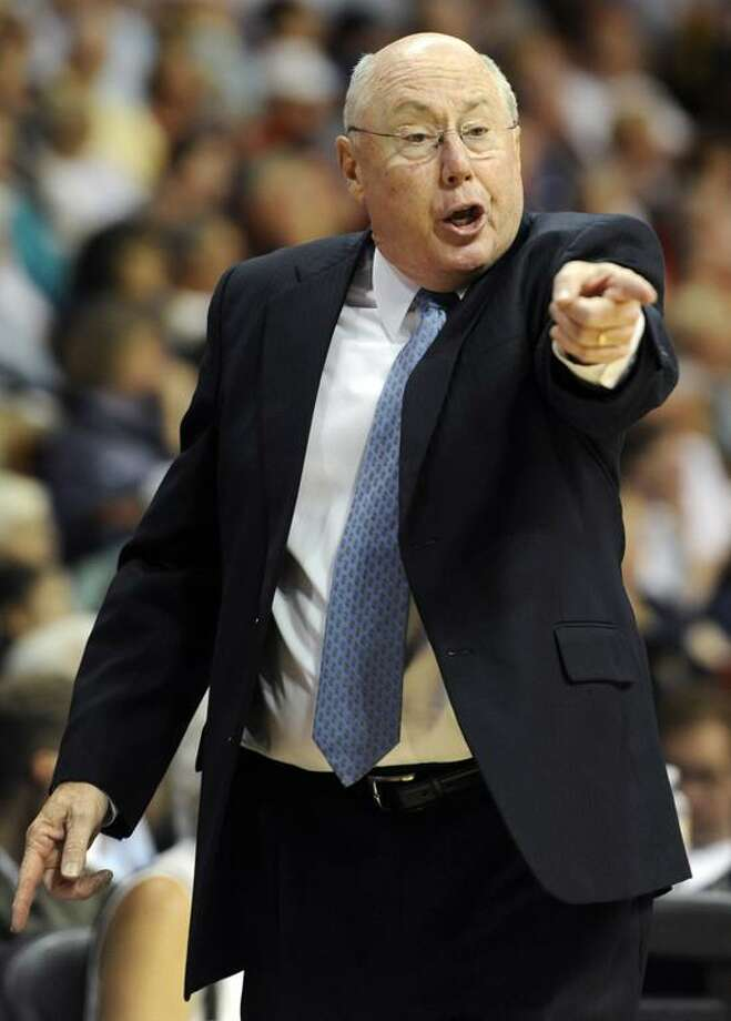 FILE - In this Aug. 21, 2012 file photo, Connecticut Sun head coach Mike Thibault reacts during the first half of a WNBA basketball game against the Tulsa Shock in Uncasville, Conn.  The Sun fired Thibault and his assistants Tuesday, Nov. 20, 2012.  Thibault, who led the team to eight playoff appearances, but no WNBA championships in his 10 seasons with the franchise, had been the SunÕs only head coach, hired when the team relocated from Orlando prior to the 2003 season. (AP Photo/Jessica Hill, File) Photo: AP / FR125654 AP