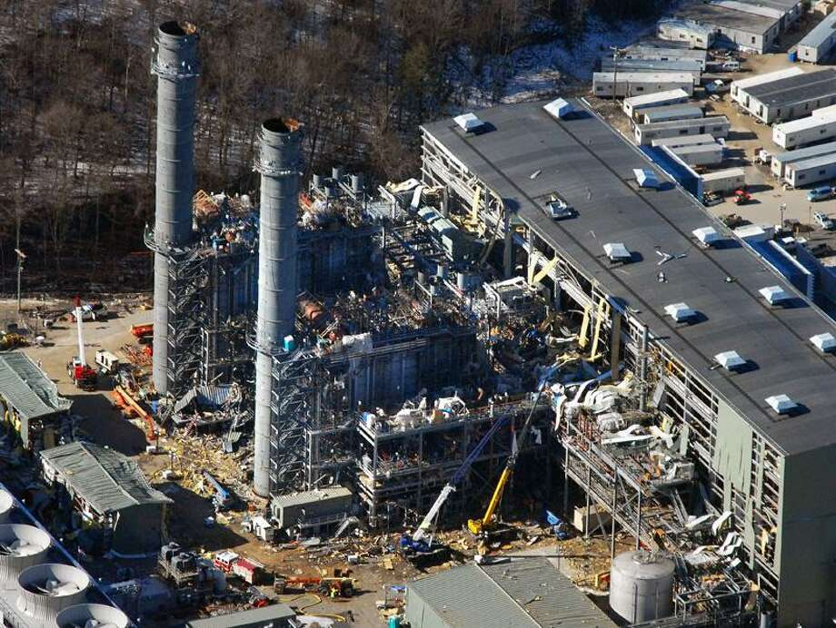 "Middletown--An aerial view of the Kleen Energy plant in Middletown the day after a massive explosion rocked the site. The explosion registered 5.0 on the Richter Scale according to the <a href=""http://USGS.org"">USGS.org</a> web site and was felt as far away as New York.    Photo-Peter Casolino"