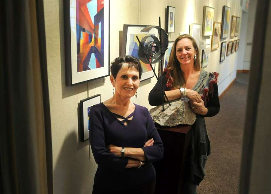 Rosemary Benivegna, left, and Lisa Carlin at the Willoughby Wallace Memorial Library, where they will be having a two-woman show there at the library gallery. Photo by Peter Hvizdak / New Haven Register Photo: New Haven Register / ©Peter Hvizdak /  New Haven Register