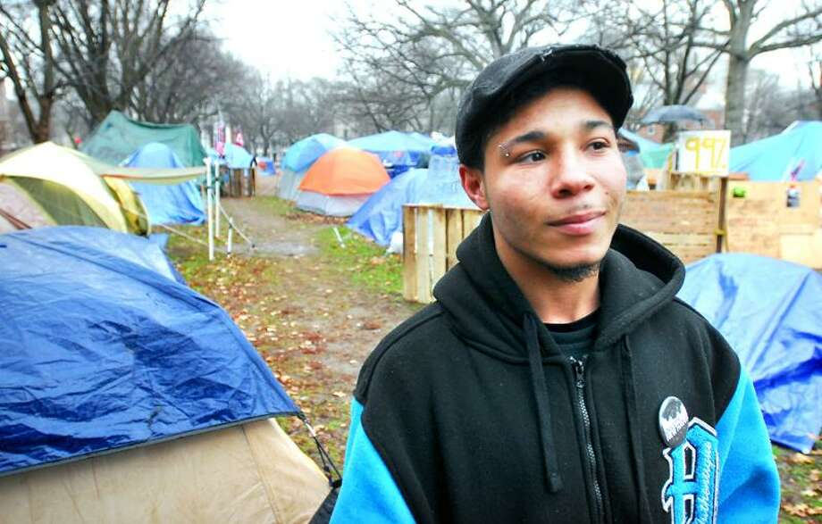 Justin Sabatino is photographed at Occupy New Haven on the Green recently. Arnold Gold/Register