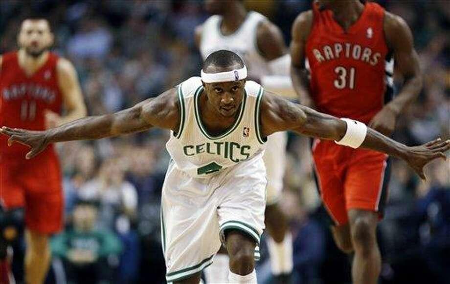 Boston Celtics' Jason Terry celebrates his three-pointer in the third quarter of an NBA basketball game against the Toronto Raptors in Boston, Saturday, Nov. 17, 2012. The Celtics won 107-89. (AP Photo/Michael Dwyer) Photo: AP / AP