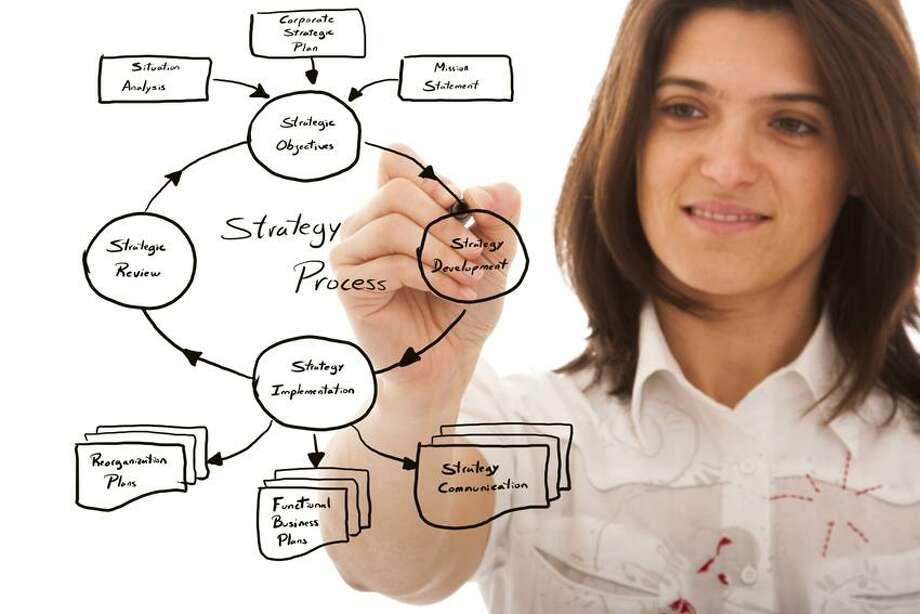 A woman draws a business plan.