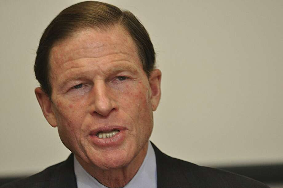 U.S. Sen. Richard Blumenthal met Friday with editors of northwestern Connecticut Journal Register Co. sister publications of the New Haven Register: The Register Citizen in Torrington and The Litchfield County Times  Photo by Rick Thomason