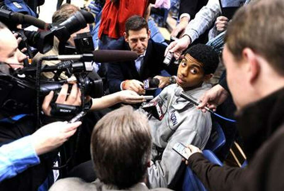 Storrs--Freshman Jeremy Lamb fields questions from the media before practice at Gampel Pavilion Tuesday.  Photo by Brad Horrigan/New Haven Register-03.29.11.