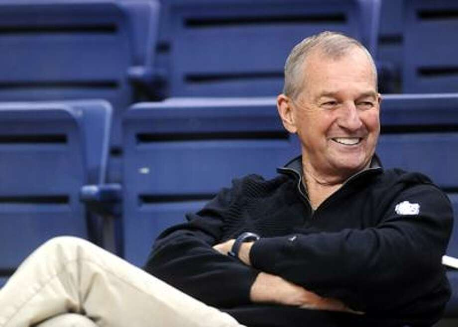 Storrs--Coach Jim Calhoun before practice at Gampel Pavilion Tuesday.  Photo by Brad Horrigan/New Haven Register-03.29.11.