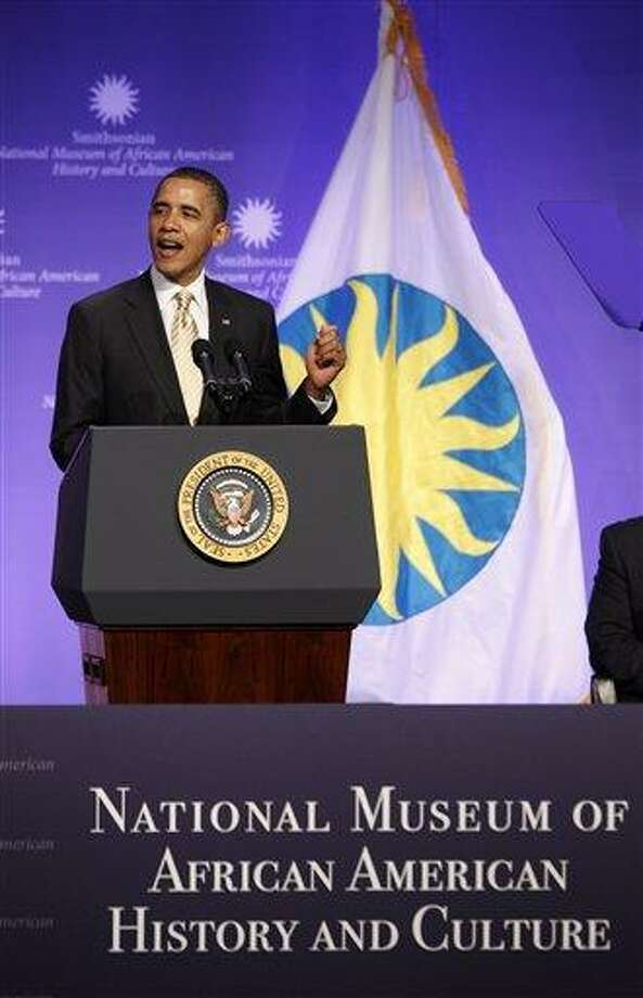 President Barack Obama speaks at the groundbreaking for the Smithsonian National Museum of African American History and Culture in Washington Wednesday. Associated Press Photo: AP / AP
