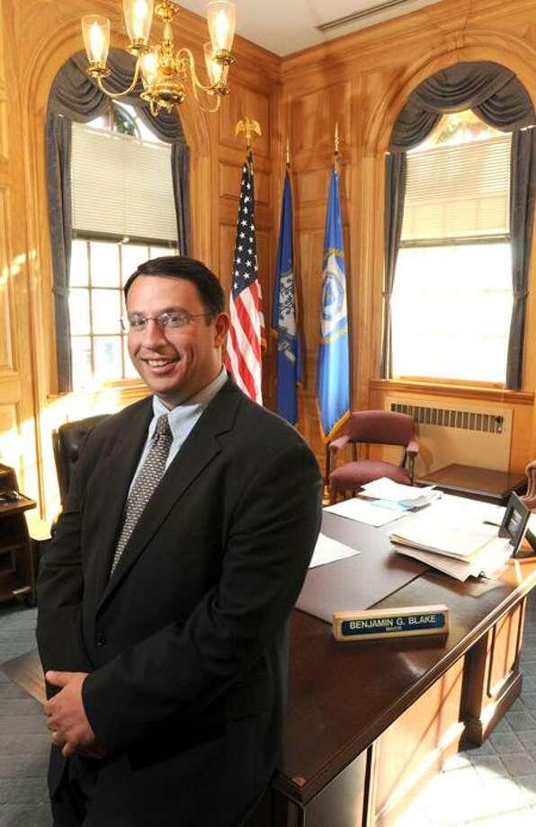 Milford Mayor Ben Blake, in his City Hall office. Mara Lavitt/Register