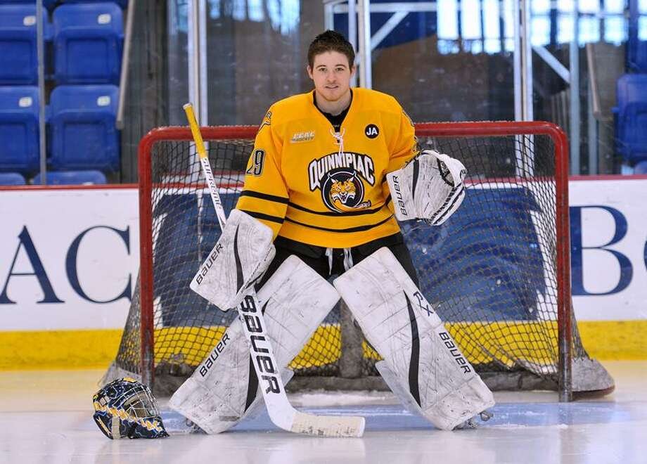 Quinnipiac senior goalie Jake Whiting, started as the team manager and made the team as a walk-on. Photo- Peter Casolino/New Haven Register 02/22/12