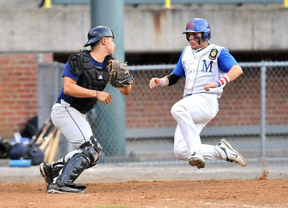 Bristol-- Branford's Brendan Shea tries to make the tag on Middletown's Dan Kovach as Kovach scored in the 4th inning.    Photo-Peter Casolino/New Haven RegisterCas110727  7/27/11