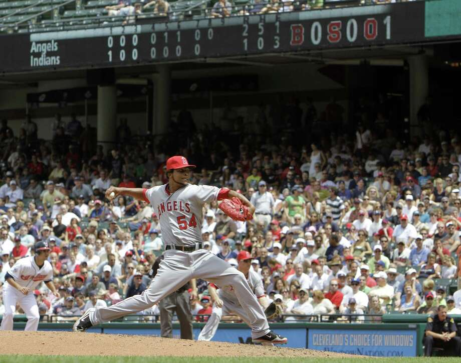 Los Angeles Angels' Ervin Santana pitches against the Cleveland Indians in the eighth inning of a baseball game Wednesday, July 27, 2011, in Cleveland. Santana tossed a no-hitter in a win 3-1. (AP Photo/Mark Duncan Photo: ASSOCIATED PRESS / AP2011