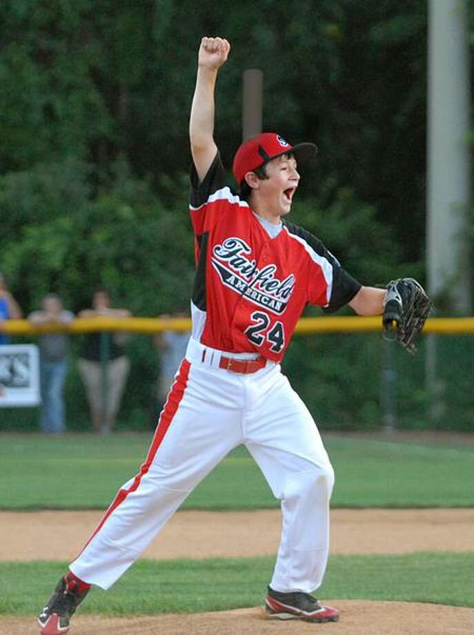 SPORTS_ Fairfield relief pitcher #24 reacts as Fairfield beats East Haven in the Section 1 Little League Final.   Melanie Stengel/Register