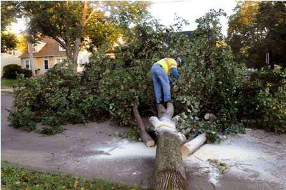 In this file photo, Mario Kowncki, of Laydon Industries, cuts up a tree for removal on Beverly Road in New Haven. He's just finishing up a 12 hour shift.   Melsanie Stengel/Register