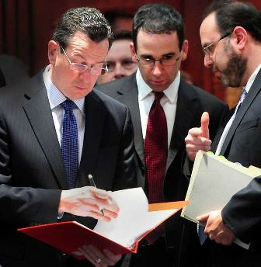 Gov. Dannel P. Malloy, left, and Commissioner of the state Department of Education, Stefan Pryor, Right, arrive at the legislature's Education Committee public hearing on Malloy's education proposal. Melanie Stengel/Register