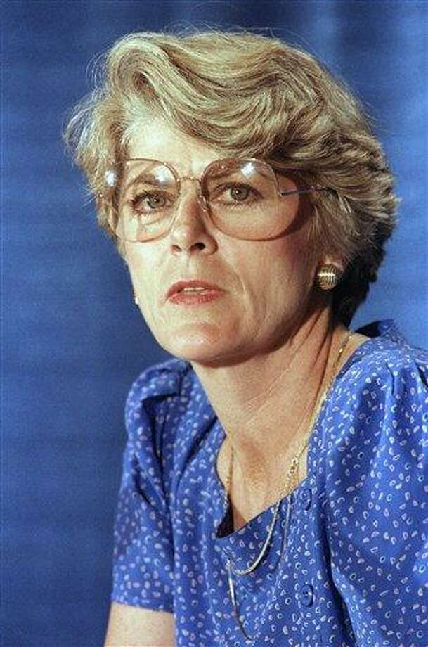 This Tuesday, Aug. 21, 1984 file picture shows Geraldine Ferraro at a news conference in New York. A spokesperson said Saturday, March 26, 2011 that Ferraro, the first woman to run for vice president, has died at 75. (AP Photo/Suzanne Vlamis, File Photo: AP / AP1984